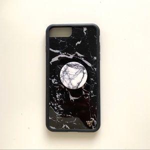 wildflower black marble iphone 8 plus case